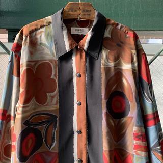 ART VINTAGE - 90s 古着 総柄シャツ 個性派 幾何学 モード デザインシャツ アートシャツ
