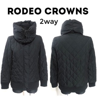 RODEO CROWNS - ロデオクラウンズ 2way ボリューム襟 中綿 ブルゾン S 黒 レディース