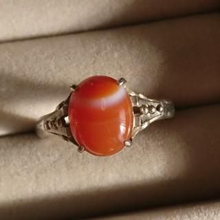 60 昭和レトロ 縞瑪瑙 透かしデザインリング 指輪 メノウ アンティーク(リング(指輪))