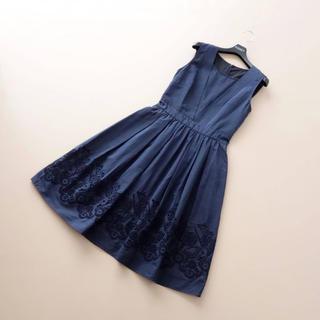 ANAYI - ■アナイ■ 38 裾カットワークレース 濃紺 フレアワンピース