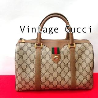 Gucci - 美品 オールドグッチ シェリーライン ビンテージボストンバッグ ハンドバッグ