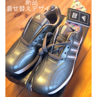 アディダス(adidas)の新品ゴルフシューズレディース23アディダスシルバー男女OK(シューズ)