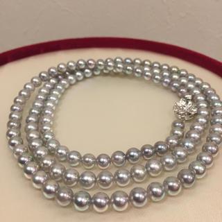 【美品】あこや真珠 グレー ロングネックレス 19i-81