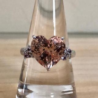 大粒5.43ct天然モルガナイト・ダイヤモンドリング/K18WG(リング(指輪))