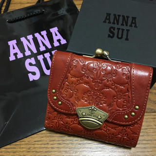 アナスイ(ANNA SUI)の新品 アナスイ バラ型押し 口金折り財布 ブラウン 訳あり(財布)