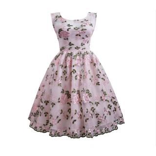 新品大きいサイズ3L可愛いヴィンテージ花刺繍レースパーティドレスワンピース(ミディアムドレス)