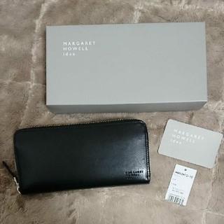 マーガレットハウエル 長財布 ラウンドファスナー 日本製 牛革 ブラック