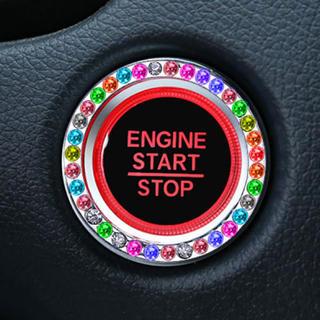 エンジン プッシュ スタート スイッチ ボタン クリスタル リング レインボー