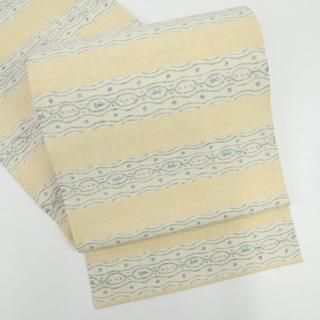 《本場結城紬『井上商事』開き名古屋帯■幾何学文■生成り色◆正絹着物◆NY1-9》(帯)