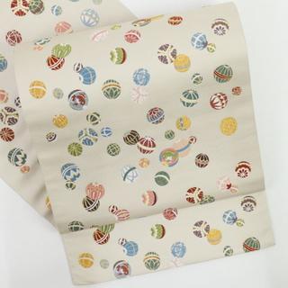 《西陣老舗『山下織物』まりと殿様袋帯◆砂色◆六通柄◆正絹着物◆FS12-12》(帯)
