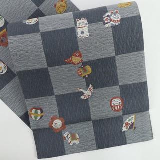 《極上袋帯■市松に吉祥玩具動物文様■濃淡グレー■六通柄■正絹着物◆FG12-8》(帯)