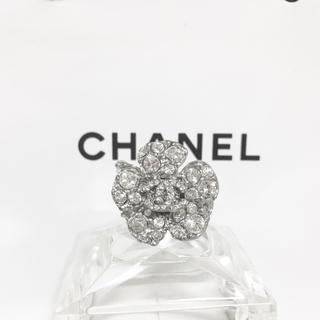 CHANEL - 正規品 シャネル 指輪 カメリア 花 ラインストーン 銀 ココマーク リング 2