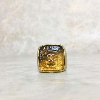 CHANEL - 正規品 シャネル 指輪 ゴールド 印台 ココマーク 琥珀風 クリア ロゴ リング