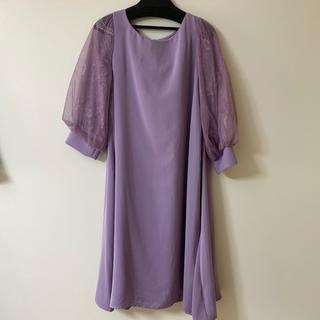 パープル ドレス ベルト付き(ミディアムドレス)