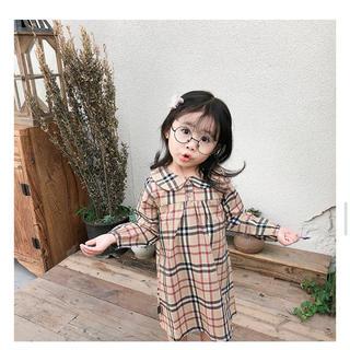即納 韓国こども服 ワンピース チェック 女の子 80