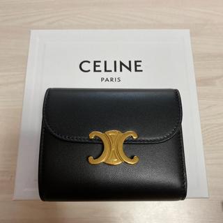 celine - セリーヌ スモールフラップウォレット シャイニースムースラムスキン  ブラック