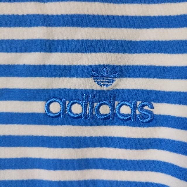 adidas(アディダス)の新品 M アディダス 長袖ボーダー ロールネック ブルーホワイト レディースのトップス(カットソー(長袖/七分))の商品写真