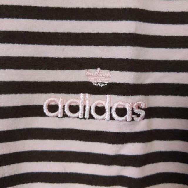 adidas(アディダス)の新品 M アディダス 長袖ボーダー ロールネック ピンク/ブラウン レディースのトップス(カットソー(長袖/七分))の商品写真
