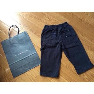 トミーヒルフィガー(TOMMY HILFIGER)のTOMMYHILFIGERフラッグ刺繍ネイビー紺ゆったりシンプルパンツ6-12m(パンツ)
