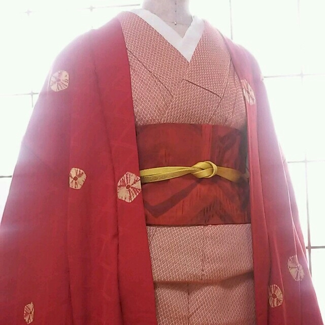 和の可愛さ♪格子織り出し赤羽織♪ レディースの水着/浴衣(着物)の商品写真