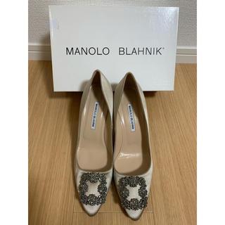 マノロブラニク(MANOLO BLAHNIK)のハワイにて購入 マノロブラニク ハンギシ ベージュ サテン 39.5(ハイヒール/パンプス)