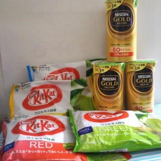 ネスレ(Nestle)のキットカットミニ4種類各1袋ネスカフェゴールドブレンド3本(菓子/デザート)