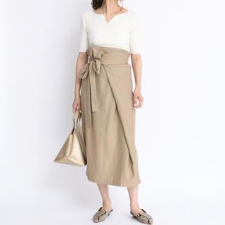 DouDou - 新品 定価13200円 麻混取り外し可能なストラップ付き♪スカート ベージュ
