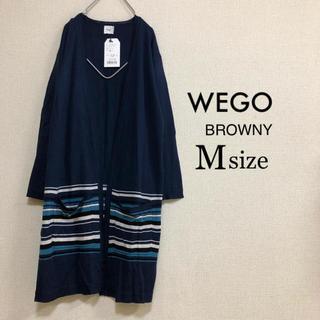 ウィゴー(WEGO)のMサイズ WEGO BROWNY⭐️新品⭐️五分袖ラインロングカーデ ネイビー(カーディガン)