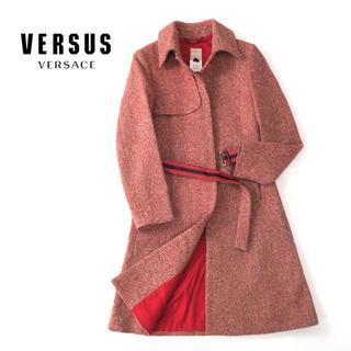 VERSACE - VERSUS VERSACE ヴェルサーチ レザーベルト◎ウールツイードコート