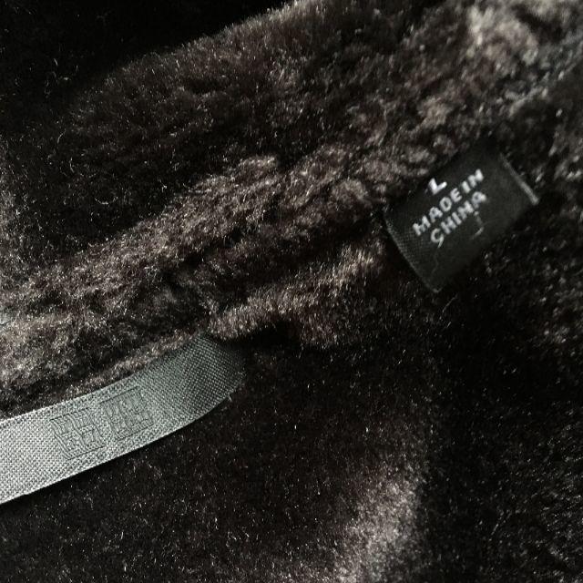 UNIQLO(ユニクロ)の美品 ユニクロ ムートン風 フードコート サイズL ダークブラウン ボア レディースのジャケット/アウター(ムートンコート)の商品写真