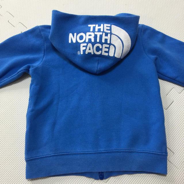 THE NORTH FACE(ザノースフェイス)の裏起毛♡ノースフェイス リアビューフルジップ パーカー ブルー×ホワイト キッズ/ベビー/マタニティのキッズ服男の子用(90cm~)(ジャケット/上着)の商品写真