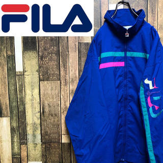 フィラ(FILA)の【激レア】フィラFILA☆サイド刺繍ビッグロゴラインデザインナイロンジャケット(ナイロンジャケット)