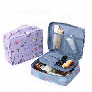 大セール!折り畳み可能なフラミンゴ柄旅行用化粧ポーチ【新品】(メイクボックス)