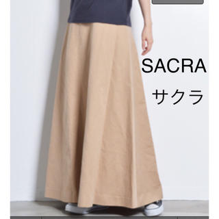 UNITED ARROWS - SACRA サクラ コットンツイルマキシスカート☆ベージュ☆美品クリーニング済
