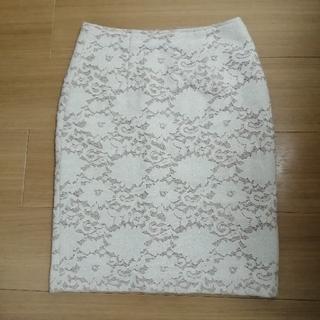ナチュラルビューティーベーシック(NATURAL BEAUTY BASIC)のNBB 冬素材ホワイトレーススカート XS 秋冬 (ひざ丈スカート)