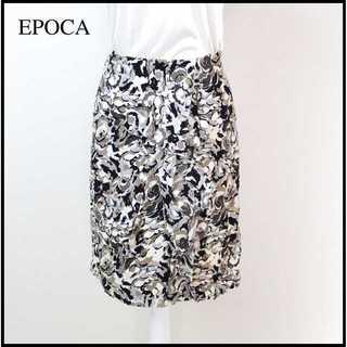 エポカ(EPOCA)のエポカ★三陽商会 シルク素材 総柄 ラップ風スカート 膝丈 38 セミタイト(ひざ丈スカート)