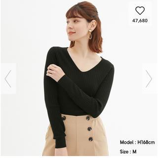 GU - ワイドリブVネックセーター(長袖)