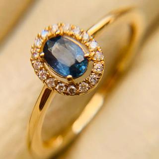 k18  サファイア ダイヤモンド巻きリング