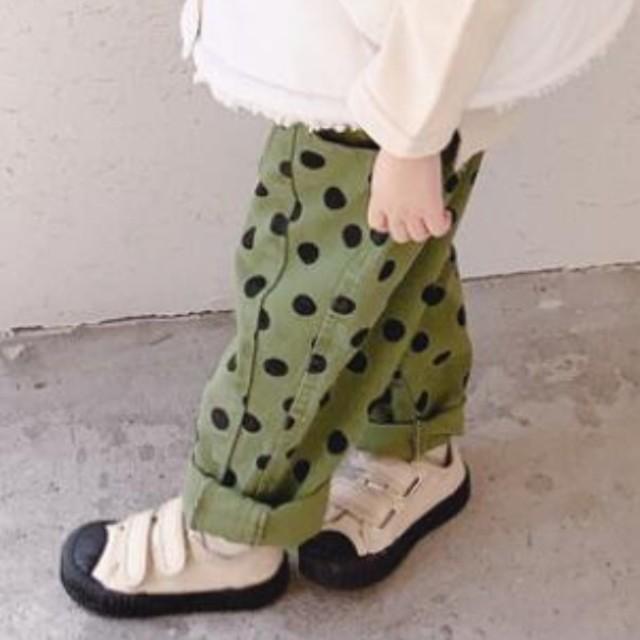 niko and...(ニコアンド)のkids  カーキドットパンツ キッズ/ベビー/マタニティのキッズ服女の子用(90cm~)(パンツ/スパッツ)の商品写真