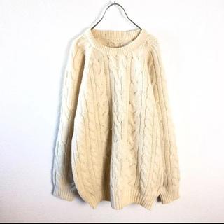 【Vintage】90s フィッシャーマン アラン ウール ニット セーター L