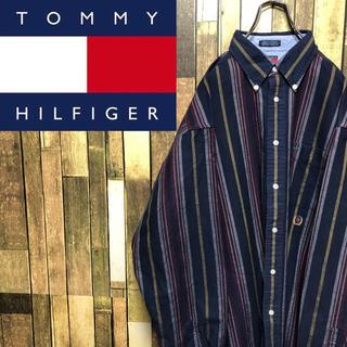 TOMMY HILFIGER - 【激レア】トミーヒルフィガー☆オールド刺繍ロゴマルチストライプシャツ 90s