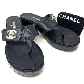 CHANEL - CHANEL☆サンダル トング ターンロックココマーク マトラッセ ブラック 袋