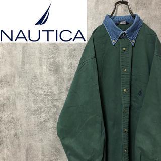 NAUTICA - 【激レア】ノーティカ☆USA製ワンポイント刺繍ロゴデニム襟切替チノシャツ 90s