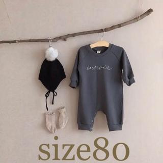 petit main - 【新品】裏起毛♥刺繍カバーオールsize80