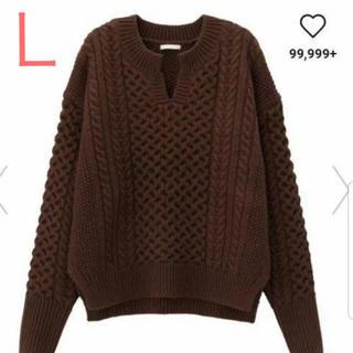 GU - ジーユー  ケーブルキーネックセーター Lサイズ