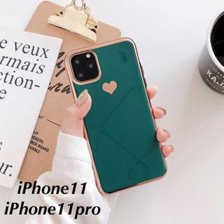 iPhone - 《新品》くすみカラー ハート iPhoneケース(グリーン)