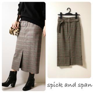 Spick and Span - スピックアンドスパン ウール ハイウエスト スカート ベルト付き