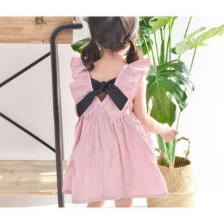 キッズ バックリボン ワンピース ピンク 100㎝(ワンピース)