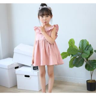 韓国こども服 バックリボン ワンピース ピンク 100㎝(ワンピース)