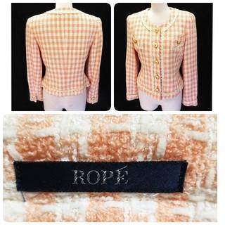 ロペ(ROPE)のロペ ウール ツイード ペールオレンジ×ホワイトチェック柄 ノーカラージャケット(ノーカラージャケット)